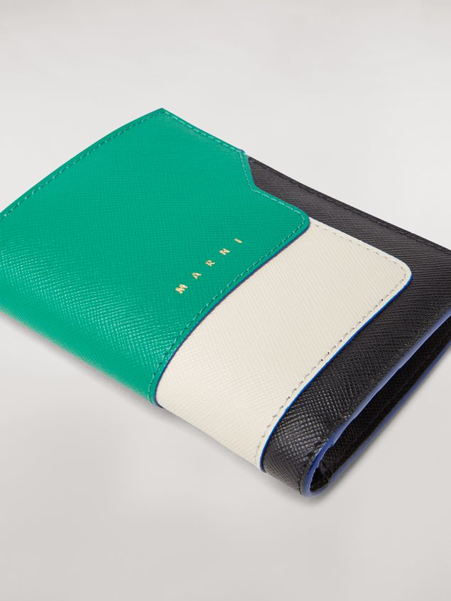 Marni Bi-fold wallet in green, white, and black saffiano leather  Woman - 5