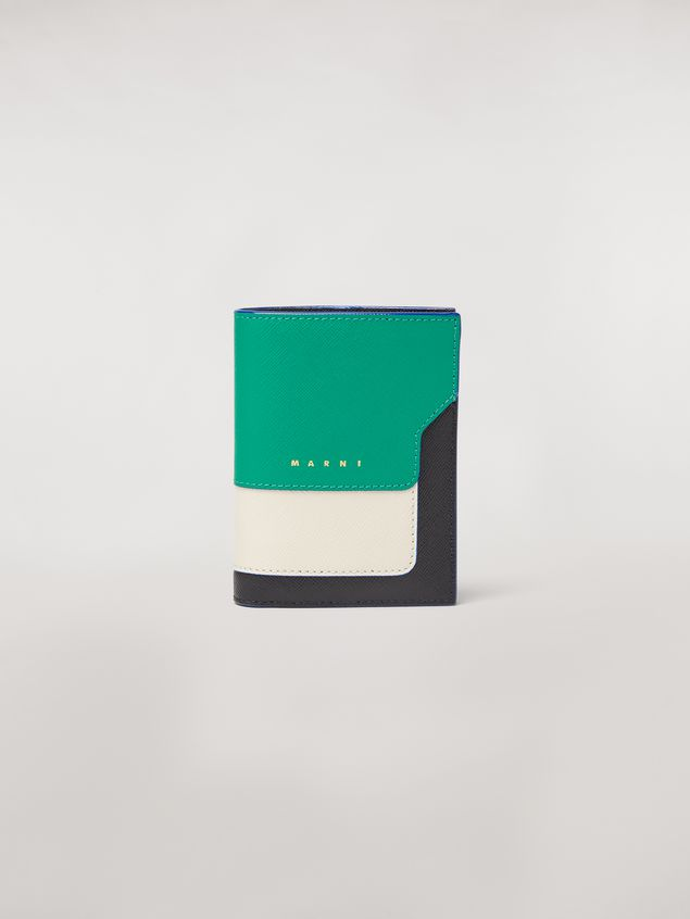 Marni Bi-fold wallet in green, white, and black saffiano leather  Woman - 1