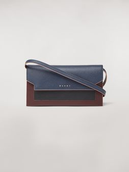 Marni Bellows wallet in blue, black and brown saffiano leather  Woman