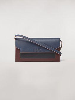 Marni Portemonnaie mit Balgen aus Saffiano-Leder in Blau, Schwarz und Braun  Damen