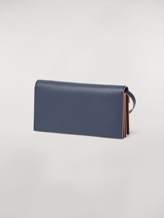 Marni Bellows wallet in blue, black and brown saffiano leather  Woman - 3