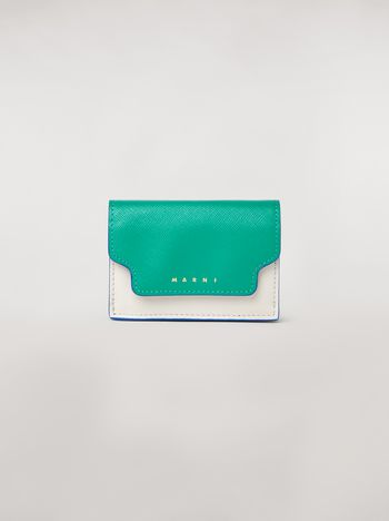 Marni Tri-fold wallet in green, white and black saffiano leather  Woman