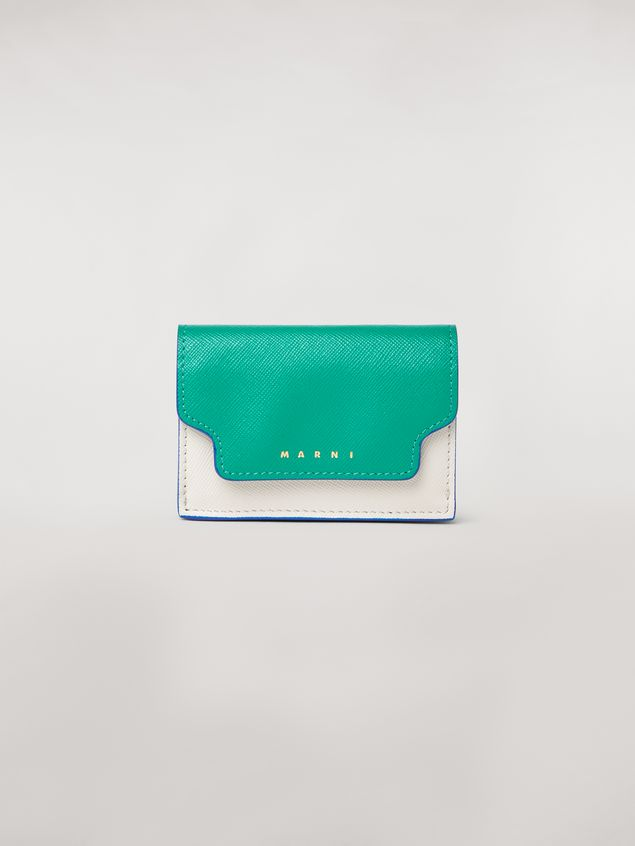 Marni Tri-fold wallet in green, white and black saffiano leather  Woman - 1