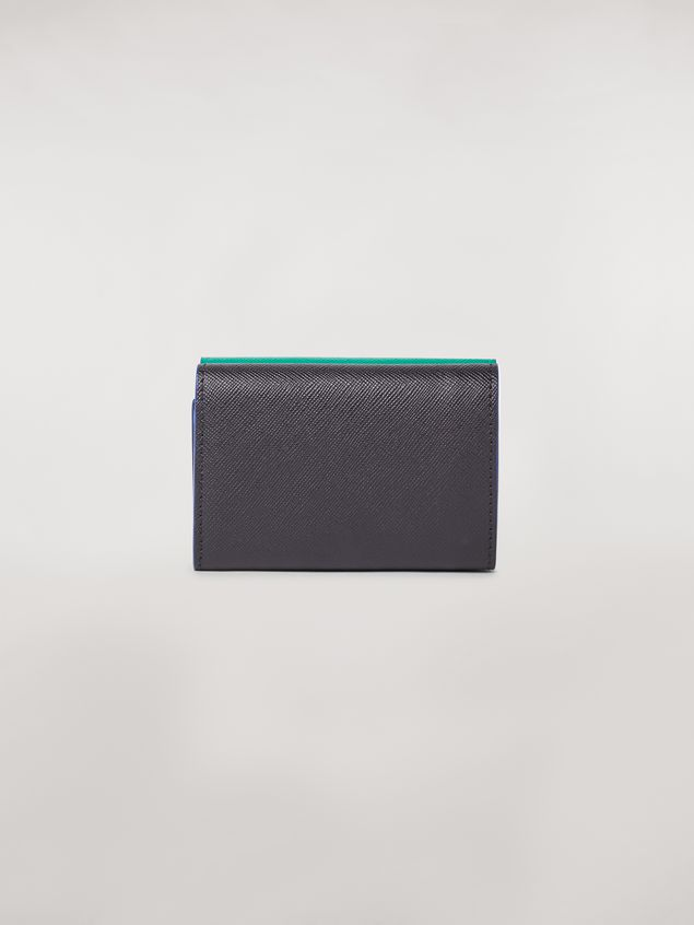 Marni Tri-fold wallet in green, white and black saffiano leather  Woman - 3