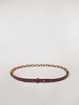 Marni Brown calfskin belt with chain Woman