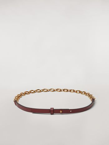 Marni Brown calfskin belt with chain Woman f