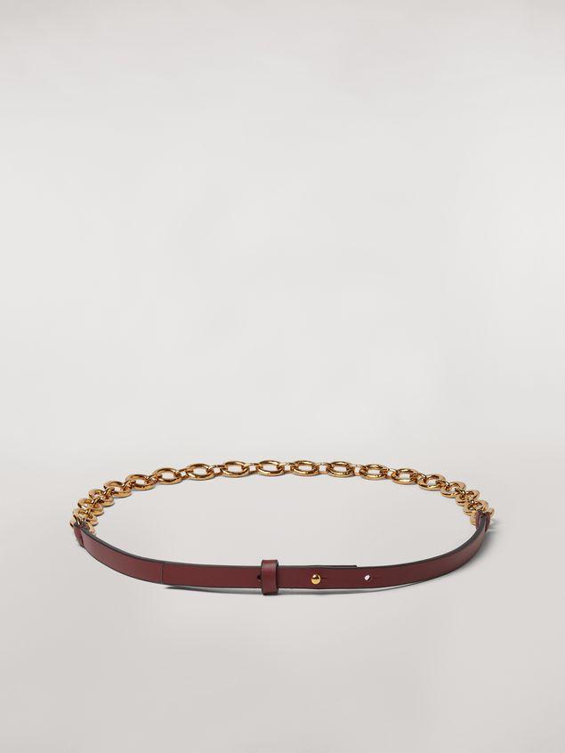 Marni Brown calfskin belt with chain Woman - 1