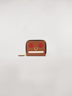 Marni Bi-fold wallet Emoji design in shiny brown, red and white leather  Woman