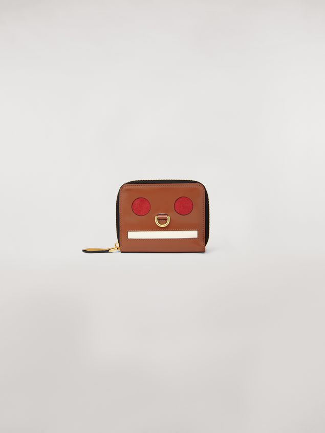Marni Bi-fold wallet Emoji design in shiny brown, red and white leather  Woman - 1