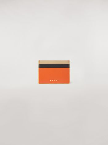Marni Credit card case in orange, black and beige saffiano leather  Woman f