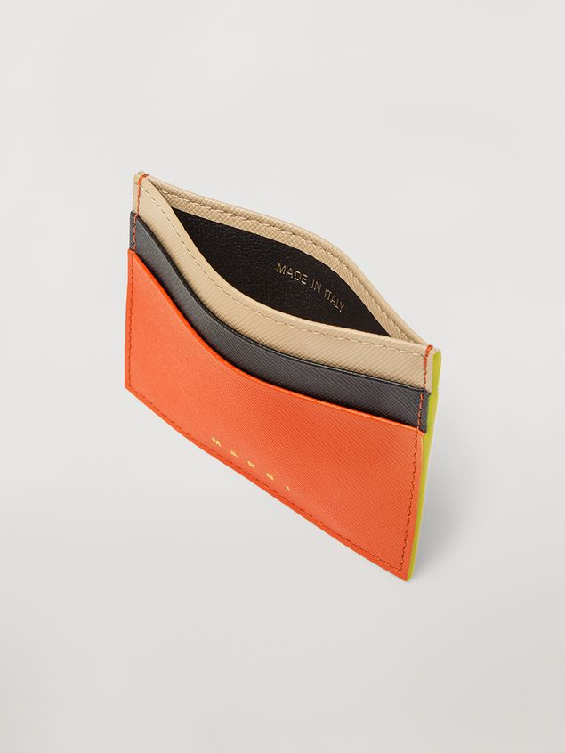 Marni Credit card case in orange, black and beige saffiano leather  Woman - 2