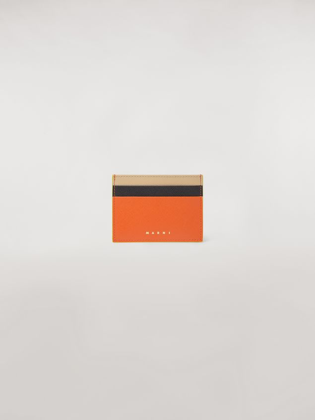 Marni Credit card case in orange, black and beige saffiano leather  Woman - 1