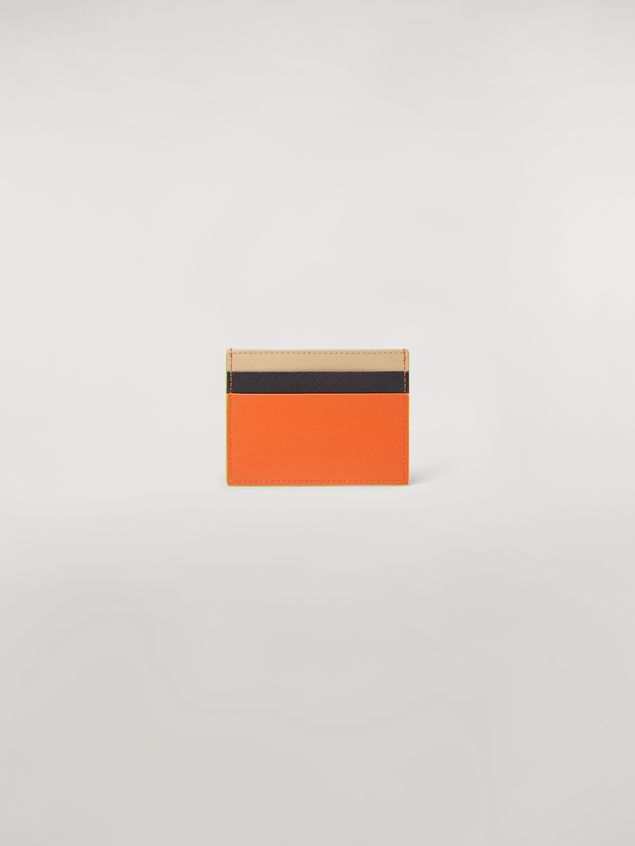 Marni Credit card case in orange, black and beige saffiano leather  Woman - 3