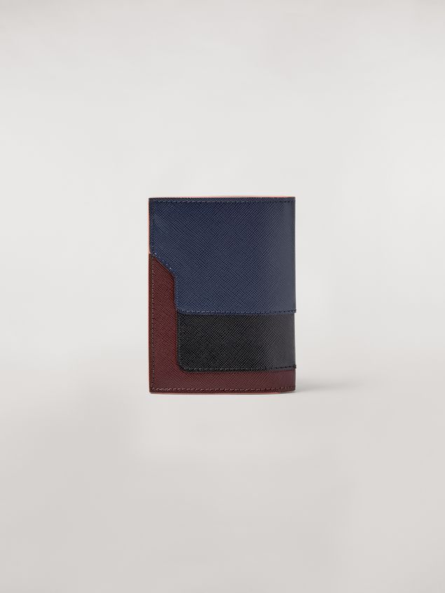 Marni Bi-fold wallet in blue, black and brown saffiano leather  Woman