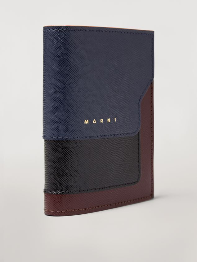 Marni Bi-fold wallet in blue, black and brown saffiano leather  Woman - 4
