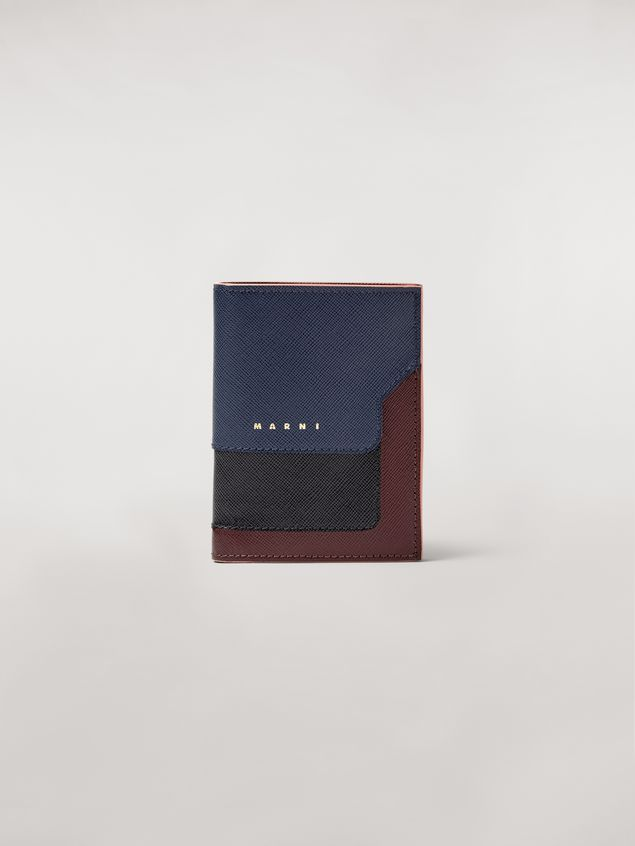 Marni Bi-fold wallet in blue, black and brown saffiano leather  Woman - 1