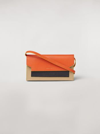Marni Bellows wallet in orange, black and beige saffiano leather  Woman f