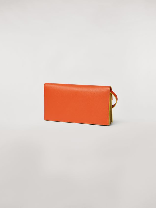 Marni Bellows wallet in orange, black and beige saffiano leather  Woman