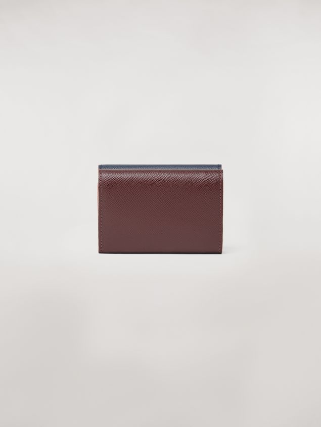 Marni Tri-fold wallet in blue, black and brown saffiano leather  Woman