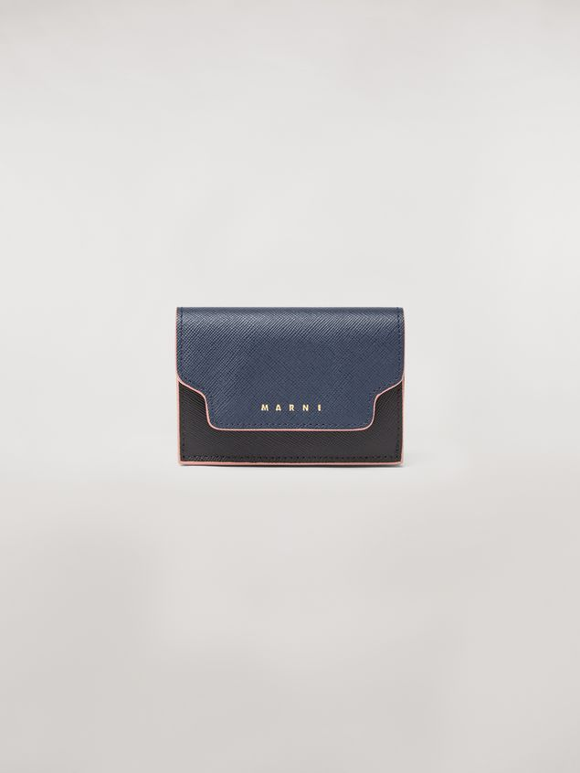Marni Tri-fold wallet in blue, black and brown saffiano leather  Woman - 1
