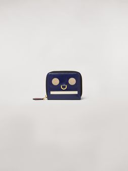 Marni Bi-fold wallet Emoji motif in shiny blue, gray and white leather  Woman