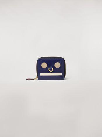 Marni Portafoglio bi-fold in vitello lucido motivo Emoji blu grigio bianco Donna
