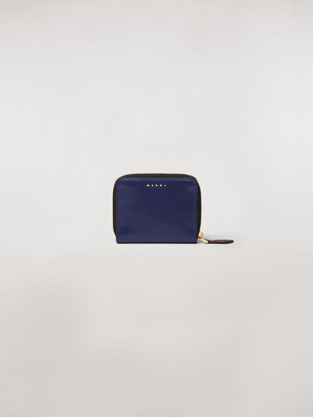 Marni Bi-fold wallet Emoji motif in shiny blue, grey and white leather  Woman