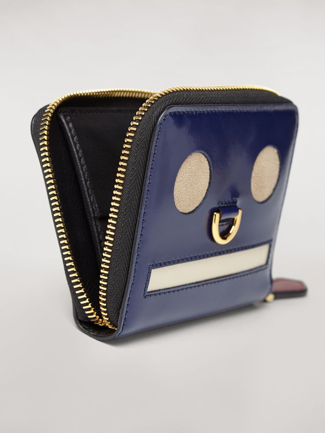 Marni Bi-fold wallet Emoji motif in shiny blue, grey and white leather  Woman - 4