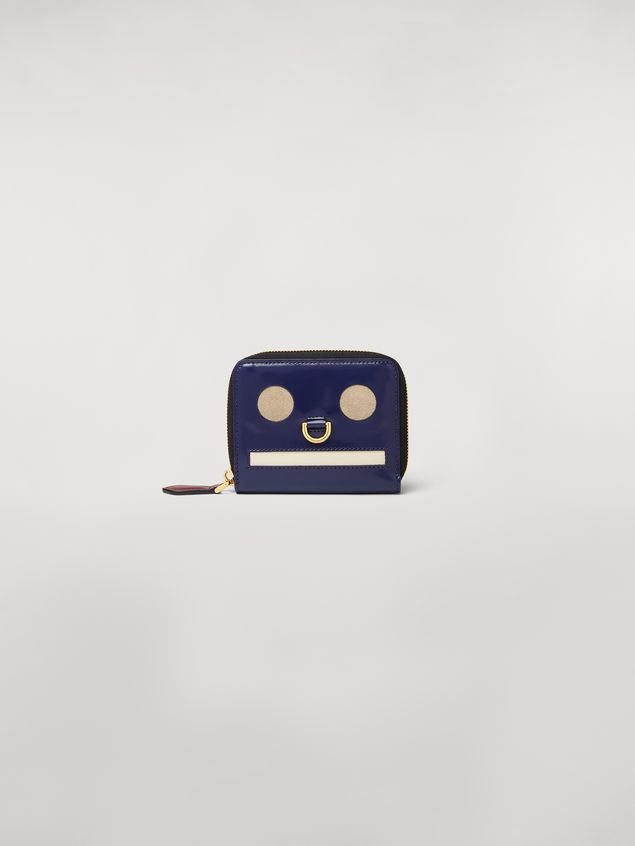 Marni Bi-fold wallet Emoji motif in shiny blue, grey and white leather  Woman - 1