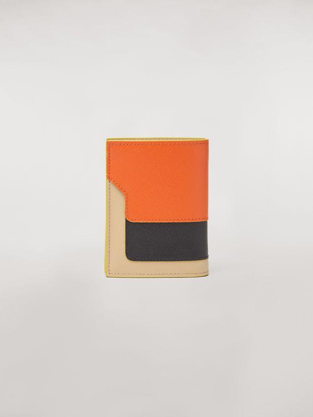 Marni Bi-fold wallet in orange, black and beige saffiano leather  Woman