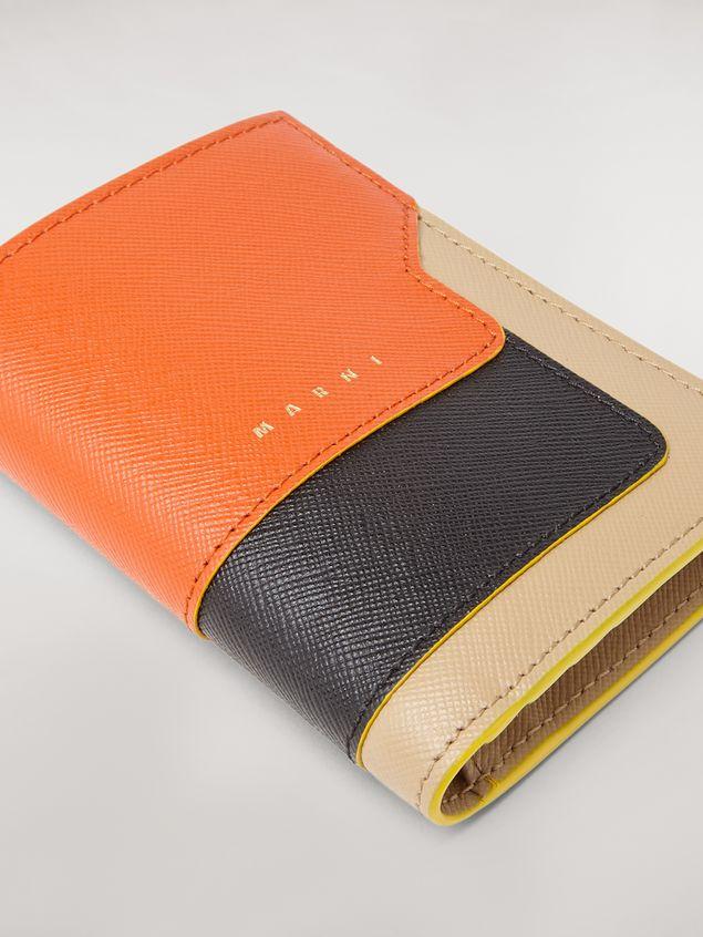 Marni Bi-fold wallet in orange, black and beige saffiano leather  Woman - 5