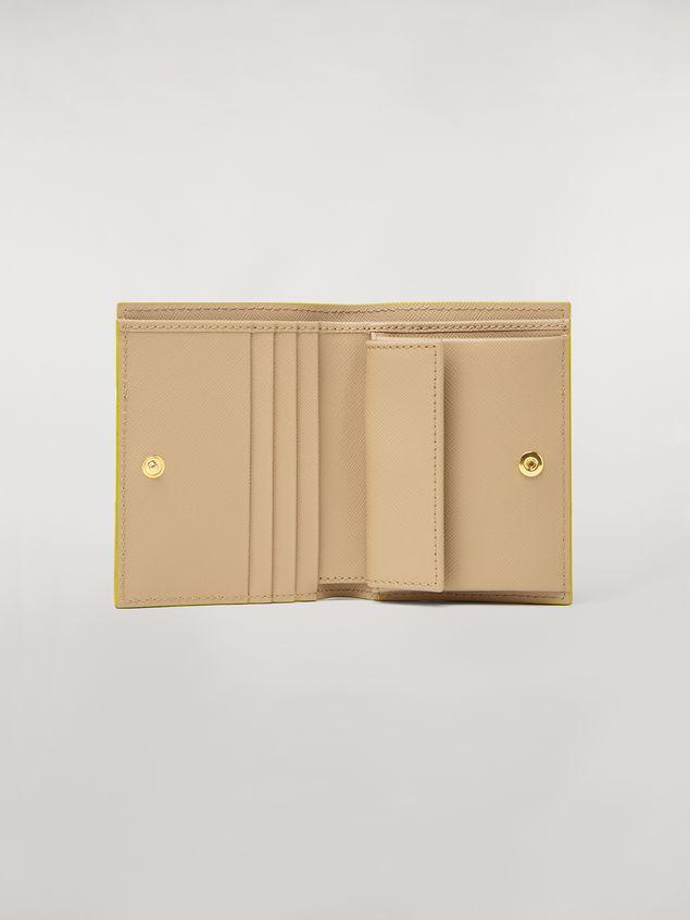 Marni Bi-fold wallet in orange, black and beige saffiano leather  Woman - 2
