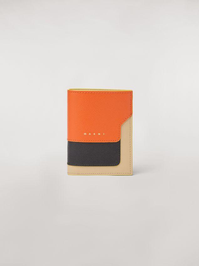 Marni Bi-fold wallet in orange, black and beige saffiano leather  Woman - 1