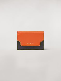 Marni Tri-fold wallet in orange, black and beige saffiano leather Woman