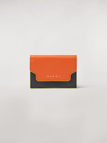 Marni Tri-fold wallet in orange, black and beige saffiano leather Woman f