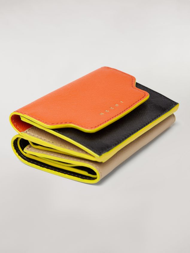 Marni Tri-fold wallet in orange, black and beige saffiano leather Woman - 5
