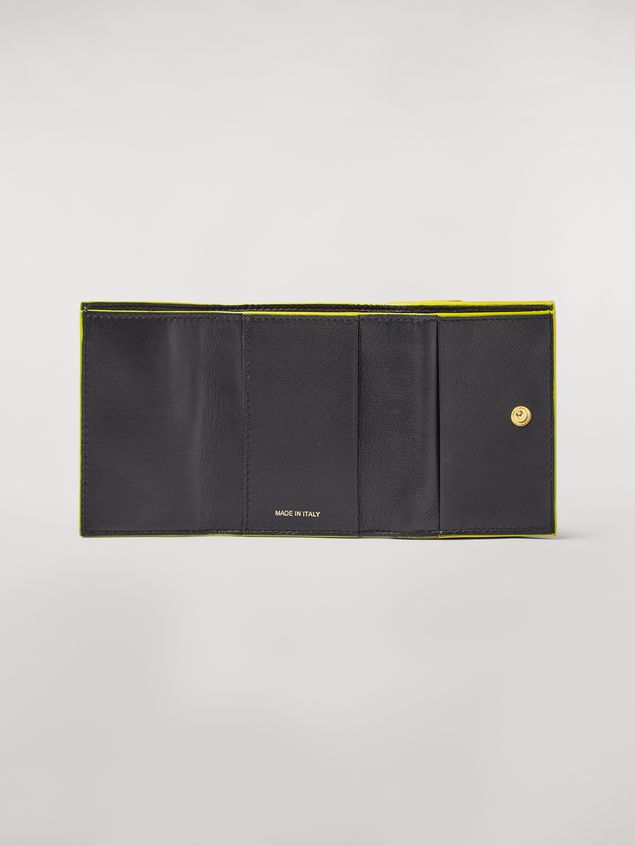 Marni Tri-fold wallet in orange, black and beige saffiano leather Woman - 2