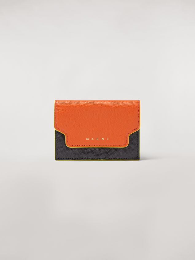 Marni Tri-fold wallet in orange, black and beige saffiano leather Woman - 1