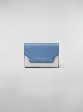 Marni Saffiano leather tri-fold wallet yellow pale blue and white Woman f