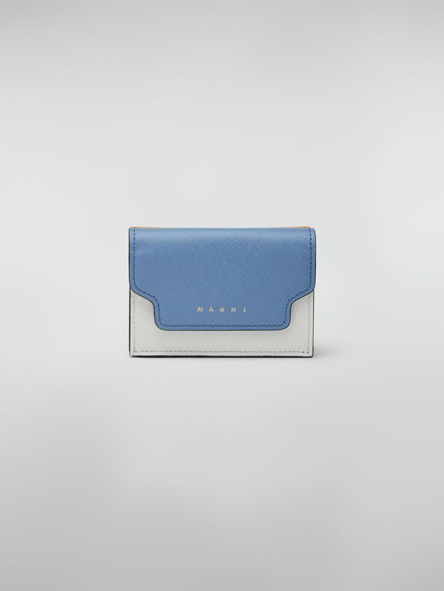 Marni Saffiano leather tri-fold wallet yellow pale blue and white Woman - 1