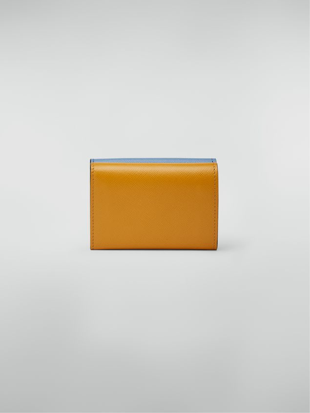 Marni Saffiano leather tri-fold wallet yellow pale blue and white Woman - 3