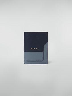 Marni Zweifach-Faltbrieftasche aus Saffiano-Leder in Dunkelgrau, Hellgrau und Schwarz Damen