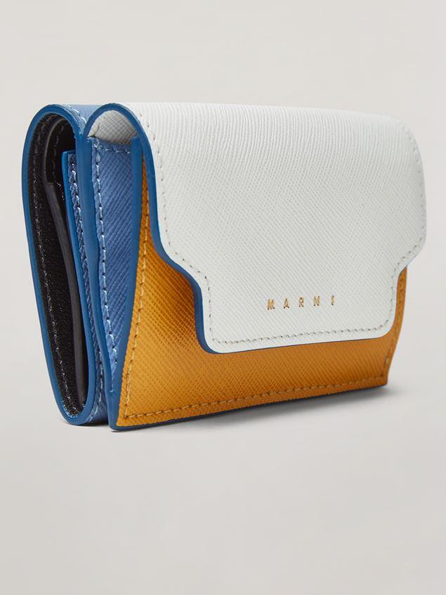 Marni Saffiano leather tri-fold wallet dark grey light grey and black Woman - 5