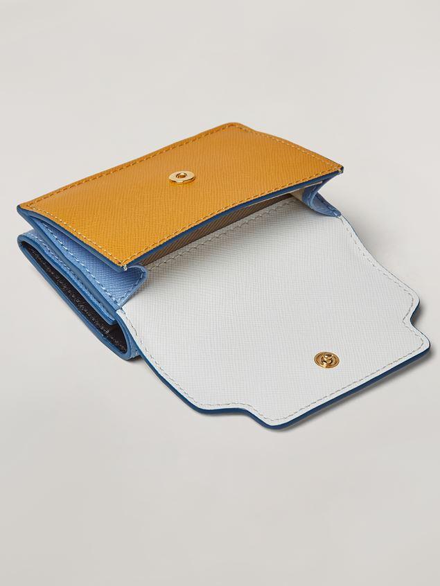 Marni Saffiano leather tri-fold wallet dark grey light grey and black Woman - 4