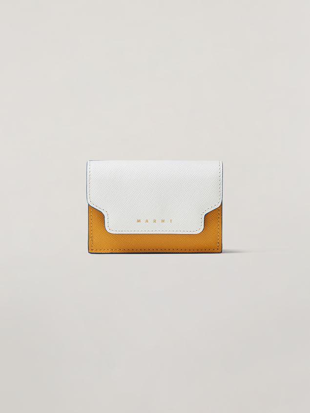 Marni Saffiano leather tri-fold wallet dark grey light grey and black Woman - 1