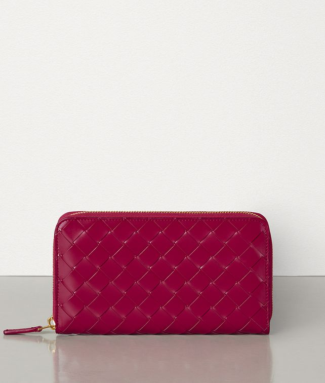 BOTTEGA VENETA MEDIUM ZIP AROUND WALLET IN INTRECCIATO SPAZZOLATO CALFSKIN Large Wallet Woman fp
