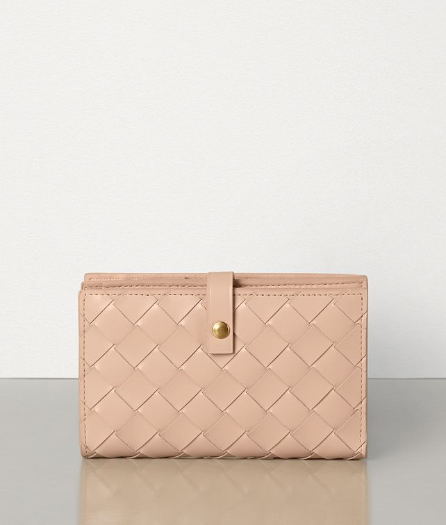BOTTEGA VENETA MINI FRENCH WALLET IN INTRECCIATO SPAZZOLATO CALF Large Wallet Woman fp