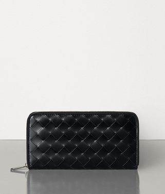 MEDIUM ZIP AROUND WALLET IN INTRECCIATO SPAZZOLATO CALFSKIN
