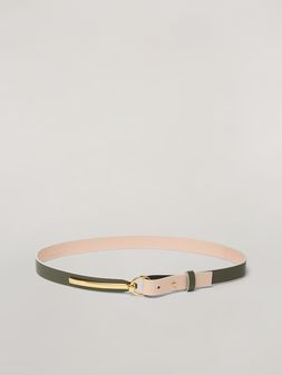 Marni Skinny belt in calf with round buckle green and pink Woman