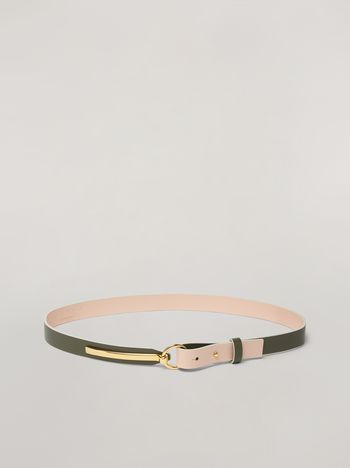 Marni Skinny belt in calf with round buckle green and pink Woman f
